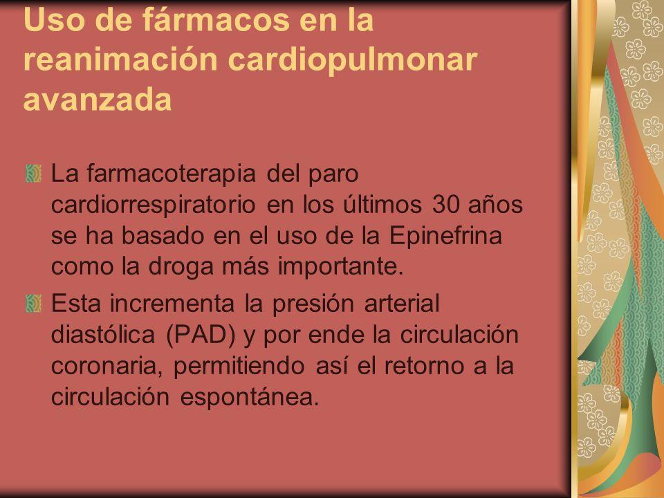 Uso de fármacos en la reanimación cardiopulmonar avanzada La farmacoterapia del paro cardiorrespiratorio en los últimos 30 años se ha basado en el uso