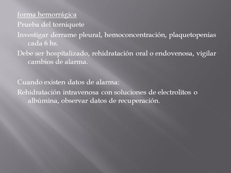 forma hemorrágica Prueba del torniquete Investigar derrame pleural, hemoconcentración, plaquetopenias cada 6 hs. Debe ser hospitalizado, rehidratación