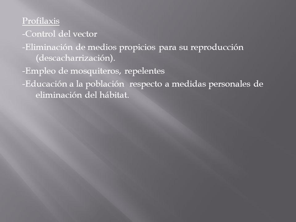 Profilaxis -Control del vector -Eliminación de medios propicios para su reproducción (descacharrización). -Empleo de mosquiteros, repelentes -Educació