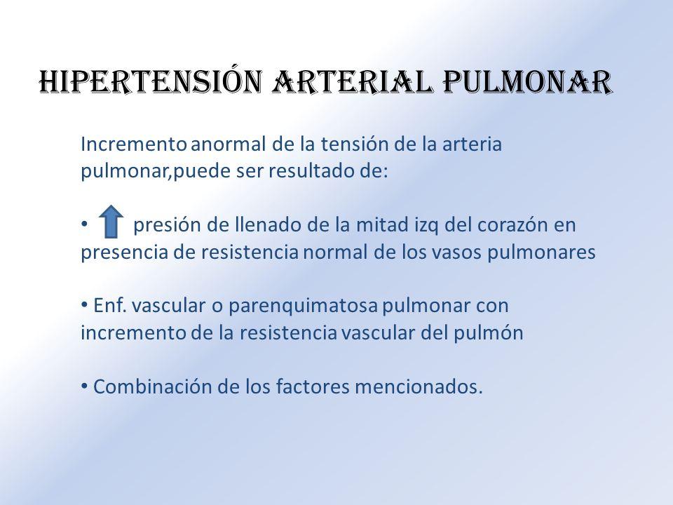 HIPERTENSIÓN ARTERIAL PULMONAR Incremento anormal de la tensión de la arteria pulmonar,puede ser resultado de: presión de llenado de la mitad izq del