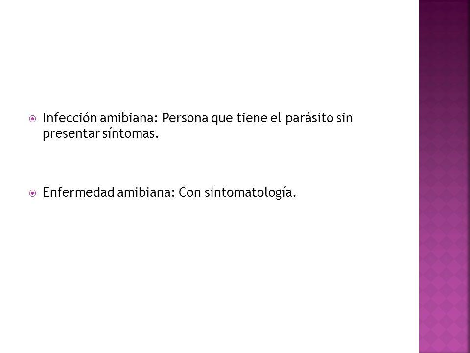 Infección amibiana: Persona que tiene el parásito sin presentar síntomas. Enfermedad amibiana: Con sintomatología.