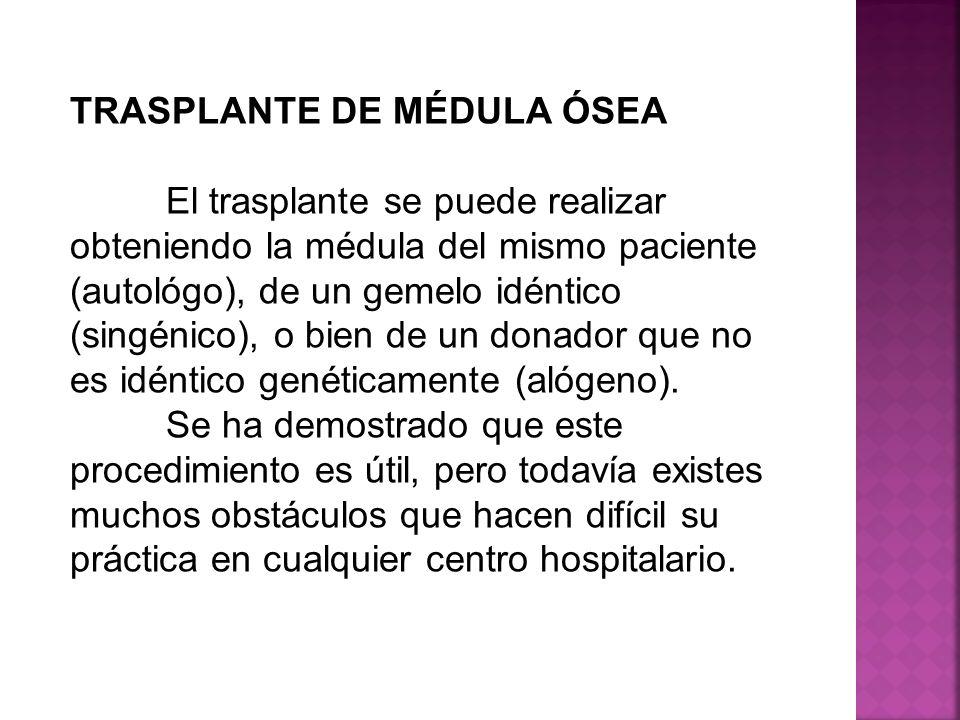 TRASPLANTE DE MÉDULA ÓSEA El trasplante se puede realizar obteniendo la médula del mismo paciente (autológo), de un gemelo idéntico (singénico), o bie