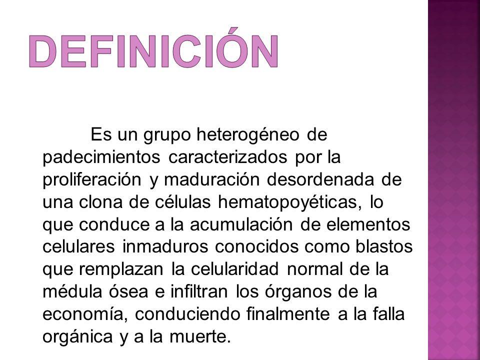 Es un grupo heterogéneo de padecimientos caracterizados por la proliferación y maduración desordenada de una clona de células hematopoyéticas, lo que