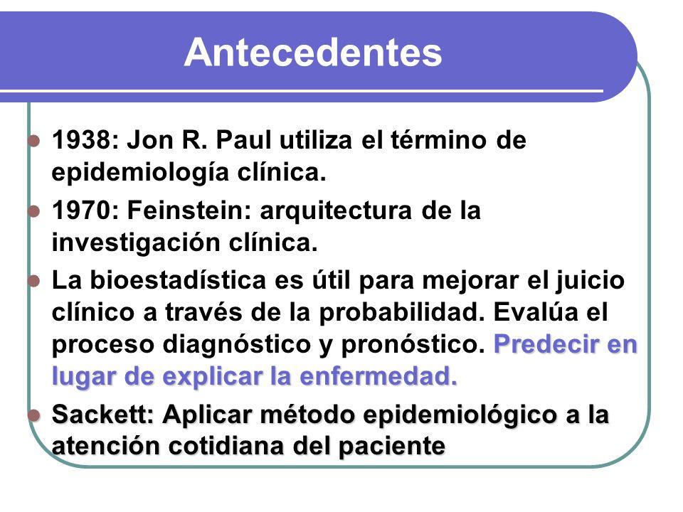 Antecedentes 1938: Jon R. Paul utiliza el término de epidemiología clínica. 1970: Feinstein: arquitectura de la investigación clínica. Predecir en lug