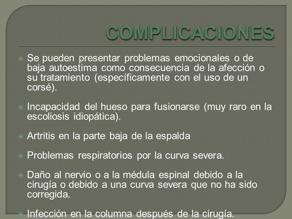 Se pueden presentar problemas emocionales o de baja autoestima como consecuencia de la afección o su tratamiento (específicamente con el uso de un cor