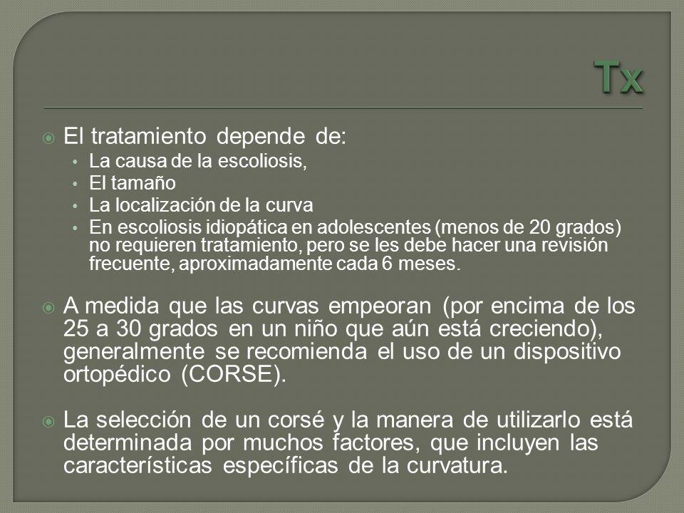 El tratamiento depende de: La causa de la escoliosis, El tamaño La localización de la curva En escoliosis idiopática en adolescentes (menos de 20 grad