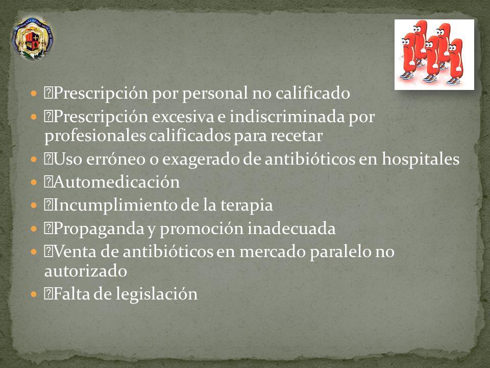 Prescripción por personal no calificado Prescripción excesiva e indiscriminada por profesionales calificados para recetar Uso erróneo o exagerado de a