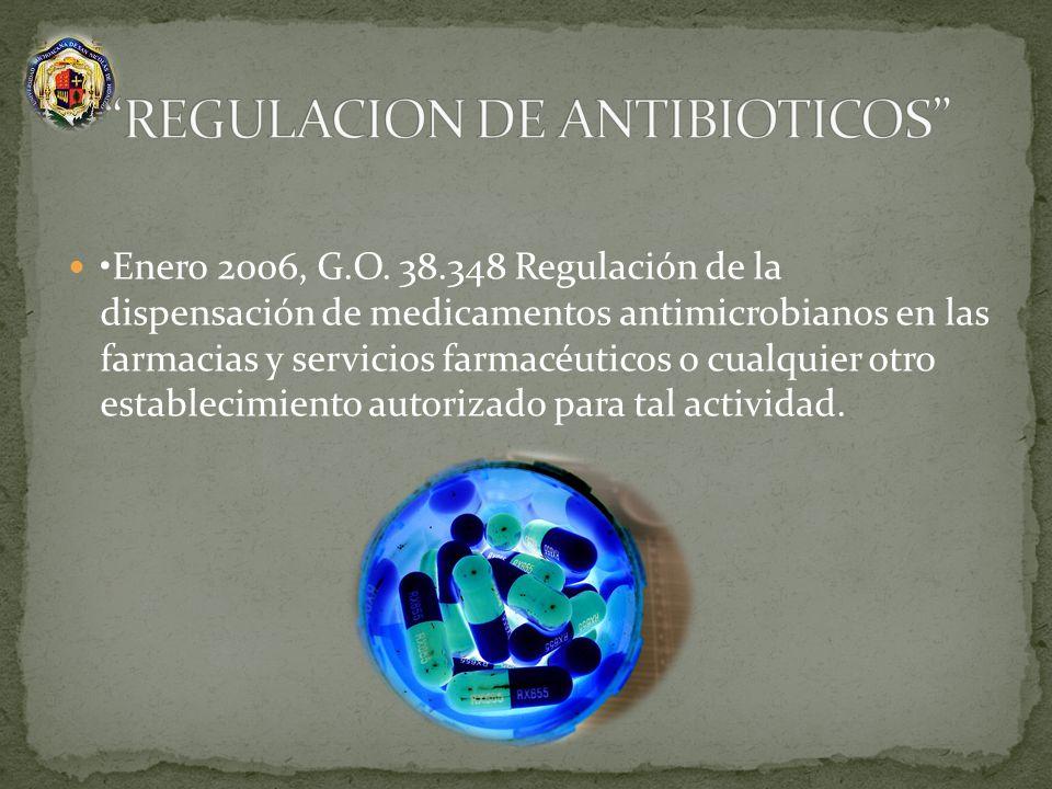 Enero 2006, G.O. 38.348 Regulación de la dispensación de medicamentos antimicrobianos en las farmacias y servicios farmacéuticos o cualquier otro esta