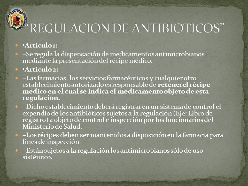 Articulo 1: –Se regula la dispensación de medicamentos antimicrobianos mediante la presentación del récipe médico. Articulo 2: –Las farmacias, los ser