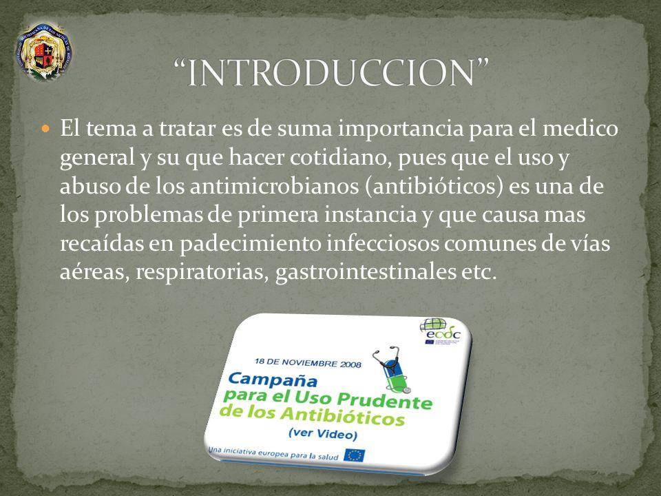 El tema a tratar es de suma importancia para el medico general y su que hacer cotidiano, pues que el uso y abuso de los antimicrobianos (antibióticos)