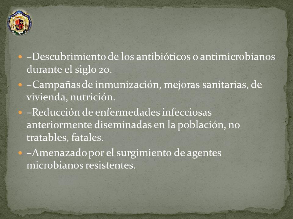 –Descubrimiento de los antibióticos o antimicrobianos durante el siglo 20. –Campañas de inmunización, mejoras sanitarias, de vivienda, nutrición. –Red