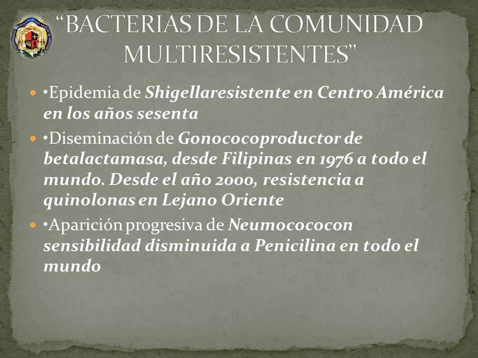 Epidemia de Shigellaresistente en Centro América en los años sesenta Diseminación de Gonococoproductor de betalactamasa, desde Filipinas en 1976 a tod