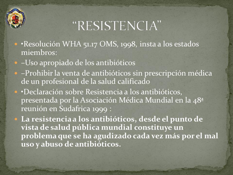 Resolución WHA 51.17 OMS, 1998, insta a los estados miembros: –Uso apropiado de los antibióticos –Prohibir la venta de antibióticos sin prescripción m