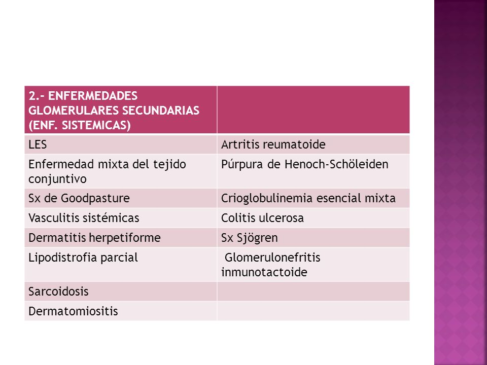 2.- ENFERMEDADES GLOMERULARES SECUNDARIAS (ENF. SISTEMICAS) LESArtritis reumatoide Enfermedad mixta del tejido conjuntivo Púrpura de Henoch-Schöleiden
