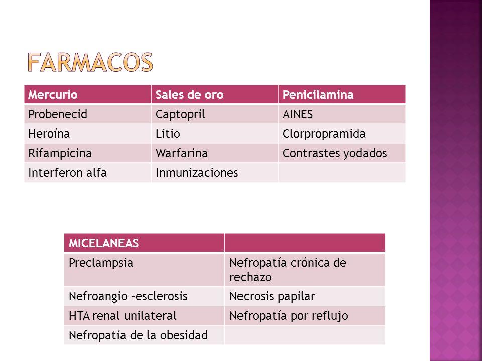 MercurioSales de oroPenicilamina ProbenecidCaptoprilAINES HeroínaLitioClorpropramida RifampicinaWarfarinaContrastes yodados Interferon alfaInmunizacio