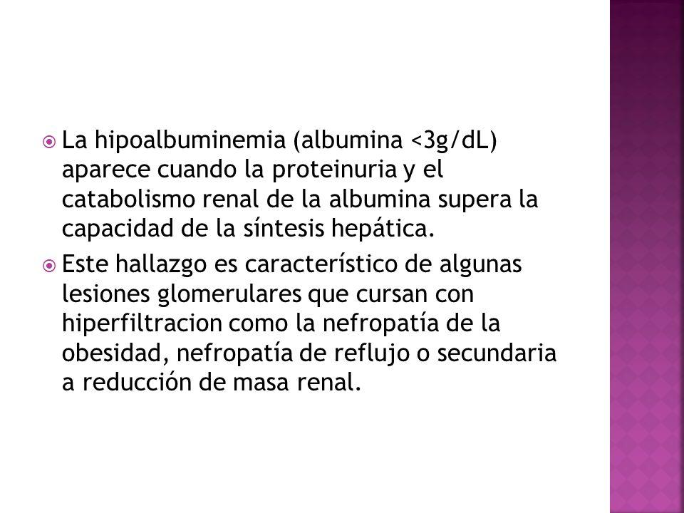 La hipoalbuminemia (albumina <3g/dL) aparece cuando la proteinuria y el catabolismo renal de la albumina supera la capacidad de la síntesis hepática.