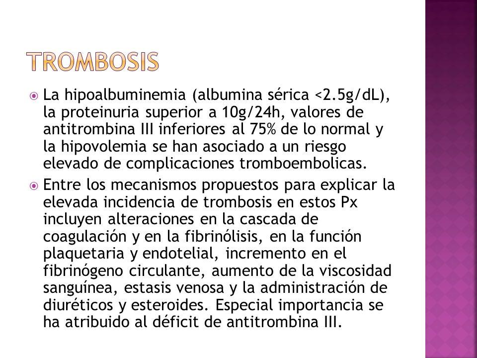 La hipoalbuminemia (albumina sérica <2.5g/dL), la proteinuria superior a 10g/24h, valores de antitrombina III inferiores al 75% de lo normal y la hipo