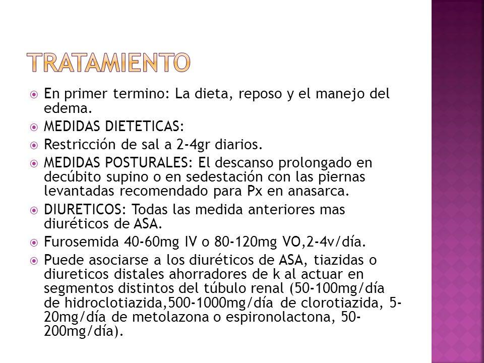 En primer termino: La dieta, reposo y el manejo del edema. MEDIDAS DIETETICAS: Restricción de sal a 2-4gr diarios. MEDIDAS POSTURALES: El descanso pro