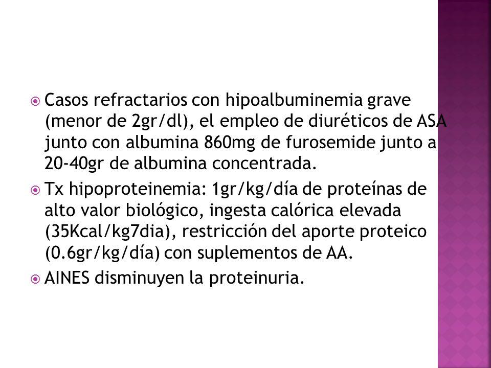 Casos refractarios con hipoalbuminemia grave (menor de 2gr/dl), el empleo de diuréticos de ASA junto con albumina 860mg de furosemide junto a 20-40gr