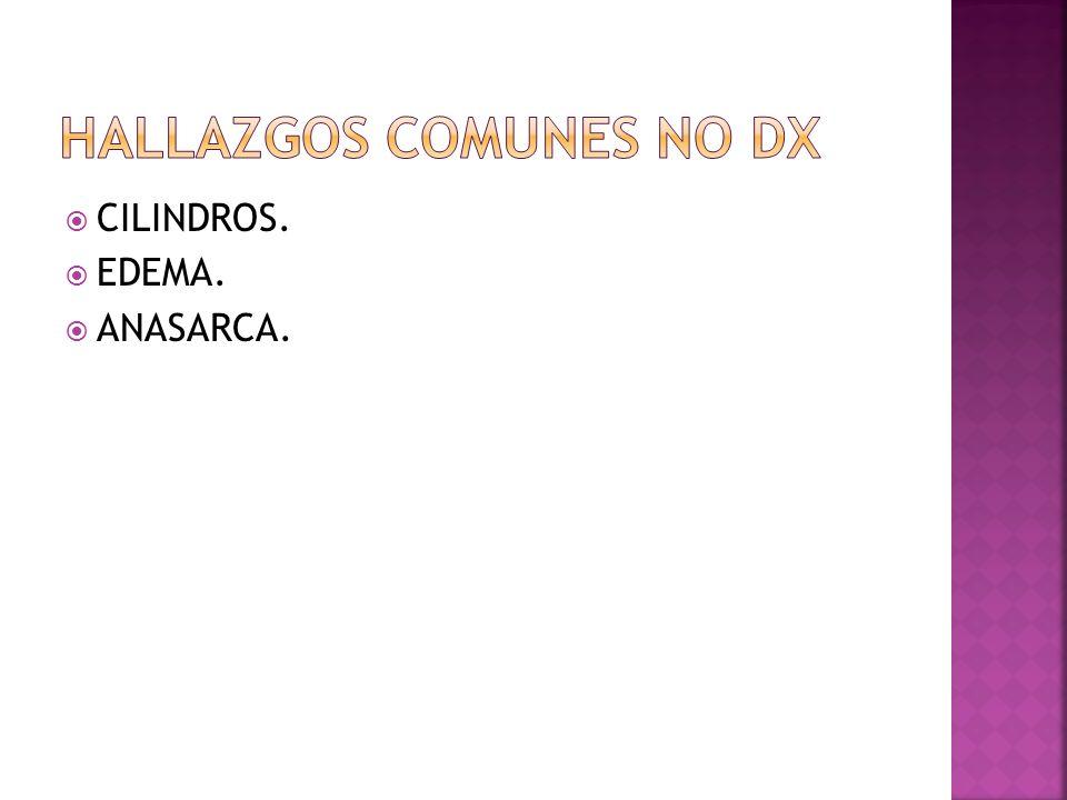Es un Sx clínico caracterizado: Oliguria. Proteinuria masiva. Hipoalbuminemia. Hipocolesterolemia.