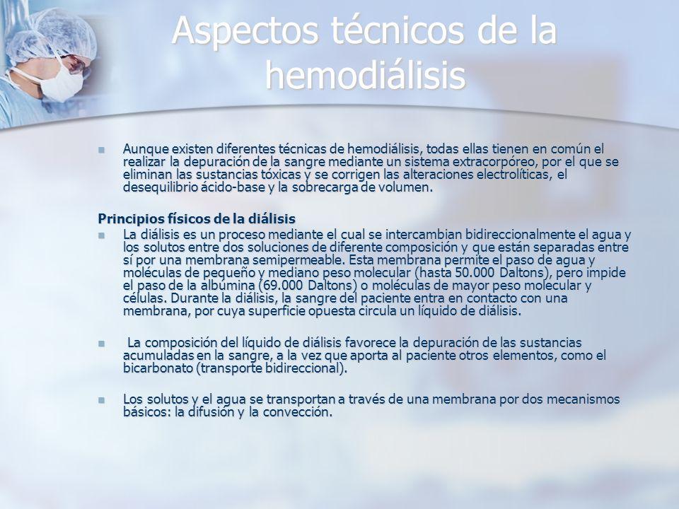 Aspectos técnicos de la hemodiálisis Aunque existen diferentes técnicas de hemodiálisis, todas ellas tienen en común el realizar la depuración de la s