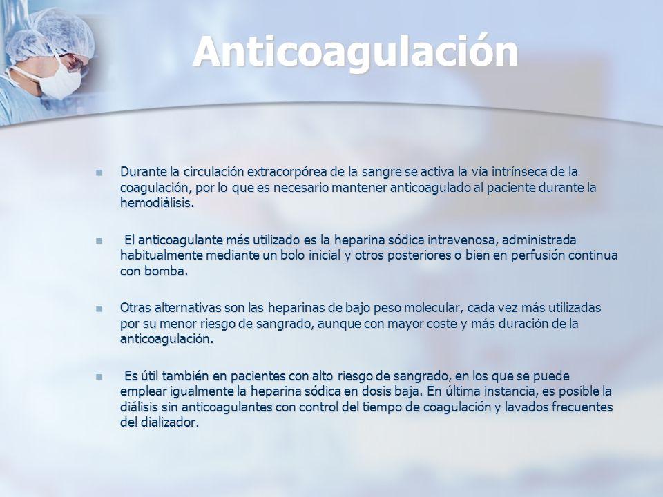 Anticoagulación Durante la circulación extracorpórea de la sangre se activa la vía intrínseca de la coagulación, por lo que es necesario mantener anti