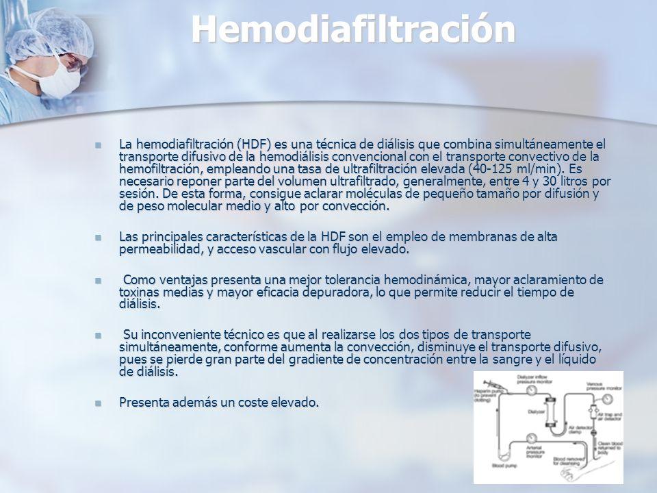 Hemodiafiltración La hemodiafiltración (HDF) es una técnica de diálisis que combina simultáneamente el transporte difusivo de la hemodiálisis convenci