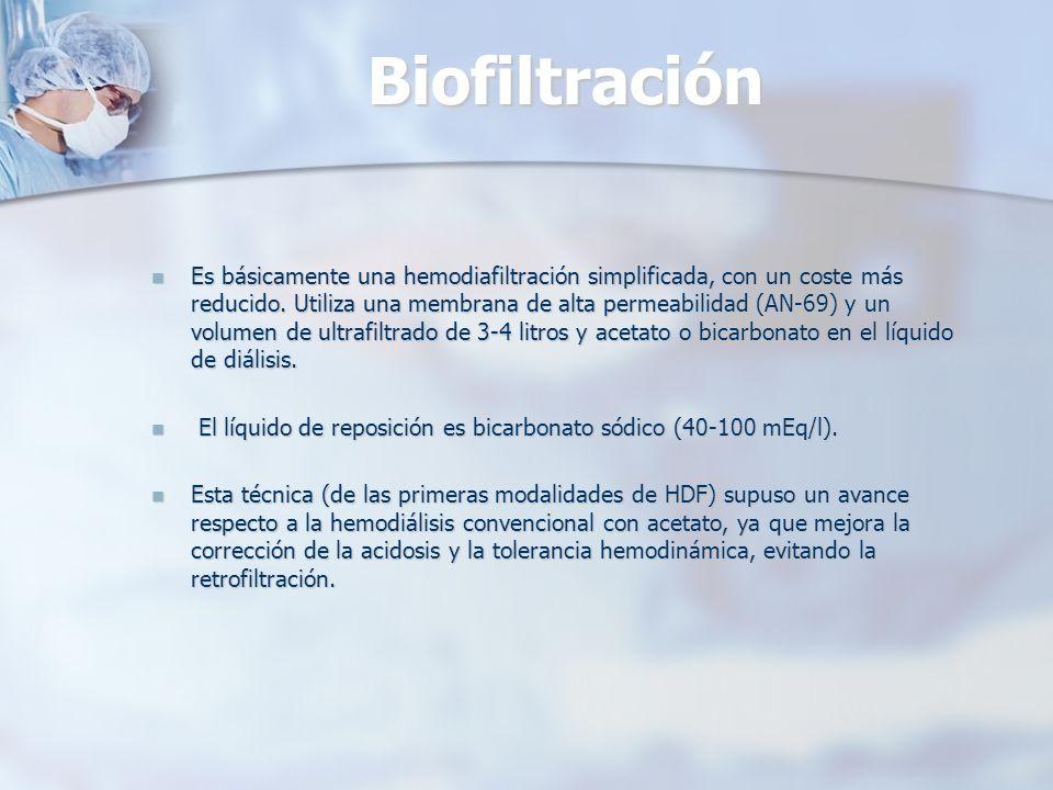 Biofiltración Es básicamente una hemodiafiltración simplificada, con un coste más reducido. Utiliza una membrana de alta permeabilidad (AN-69) y un vo
