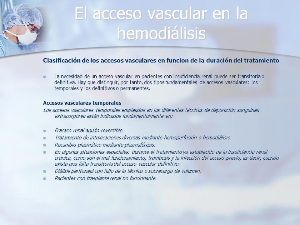 El acceso vascular en la hemodiálisis Clasificación de los accesos vasculares en funcion de la duración del tratamiento La necesidad de un acceso vasc
