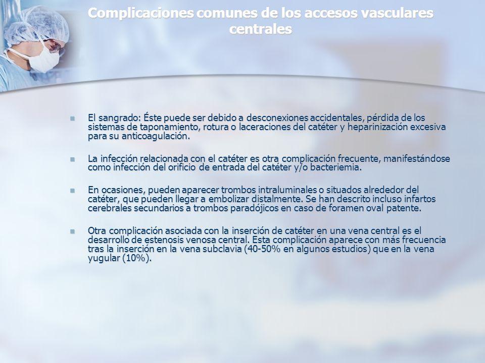 Complicaciones comunes de los accesos vasculares centrales El sangrado: Éste puede ser debido a desconexiones accidentales, pérdida de los sistemas de