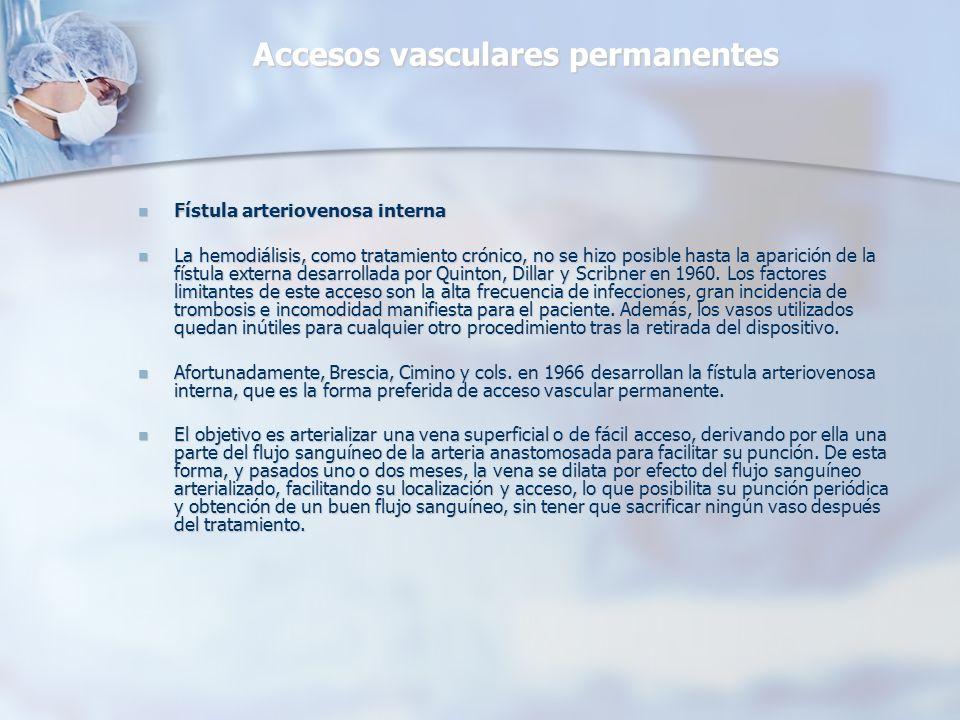 Accesos vasculares permanentes Fístula arteriovenosa interna Fístula arteriovenosa interna La hemodiálisis, como tratamiento crónico, no se hizo posib