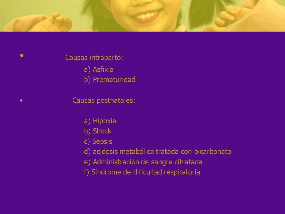 Causas intraparto: a) Asfixia b) Prematuridad Causas postnatales: a) Hipoxia b) Shock c) Sepsis d) acidosis metabólica tratada con bicarbonato e) Admi