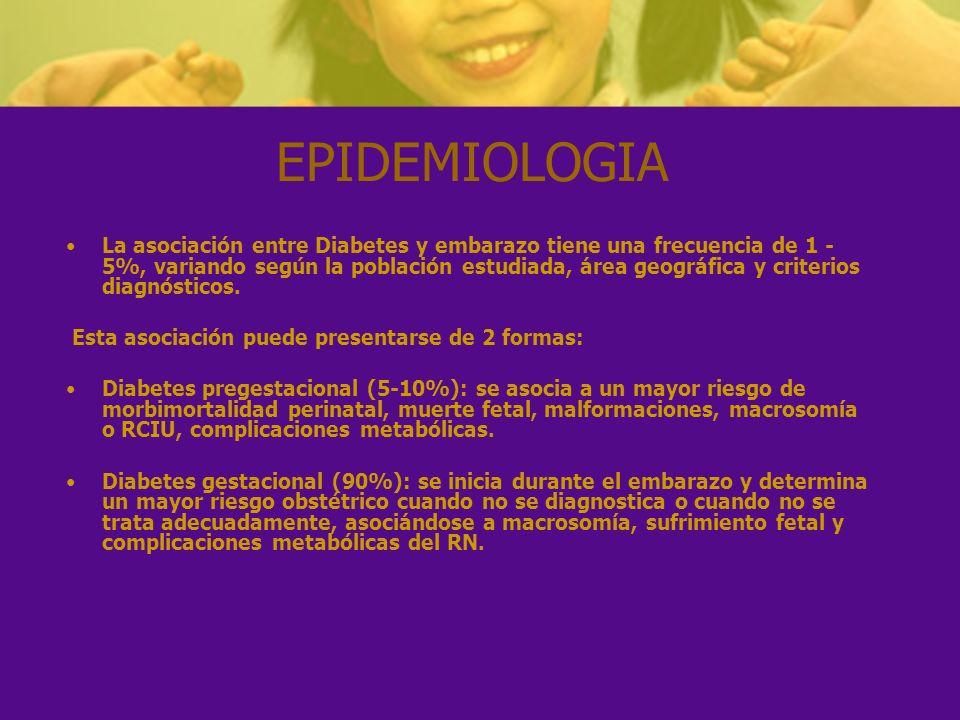 EPIDEMIOLOGIA La asociación entre Diabetes y embarazo tiene una frecuencia de 1 - 5%, variando según la población estudiada, área geográfica y criteri