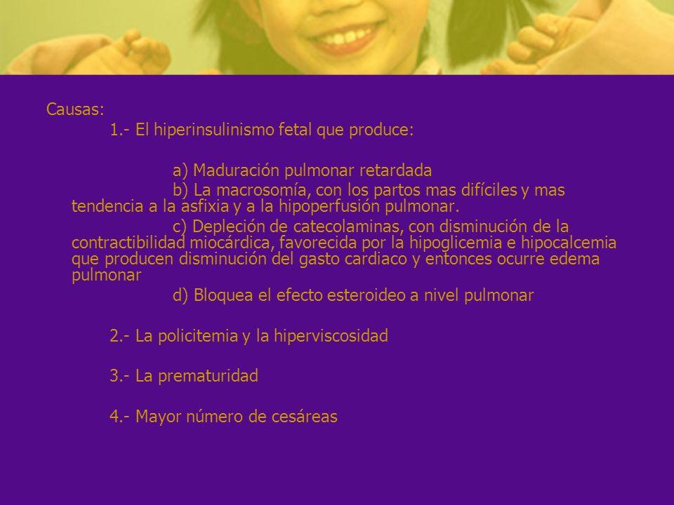 Causas: 1.- El hiperinsulinismo fetal que produce: a) Maduración pulmonar retardada b) La macrosomía, con los partos mas difíciles y mas tendencia a l