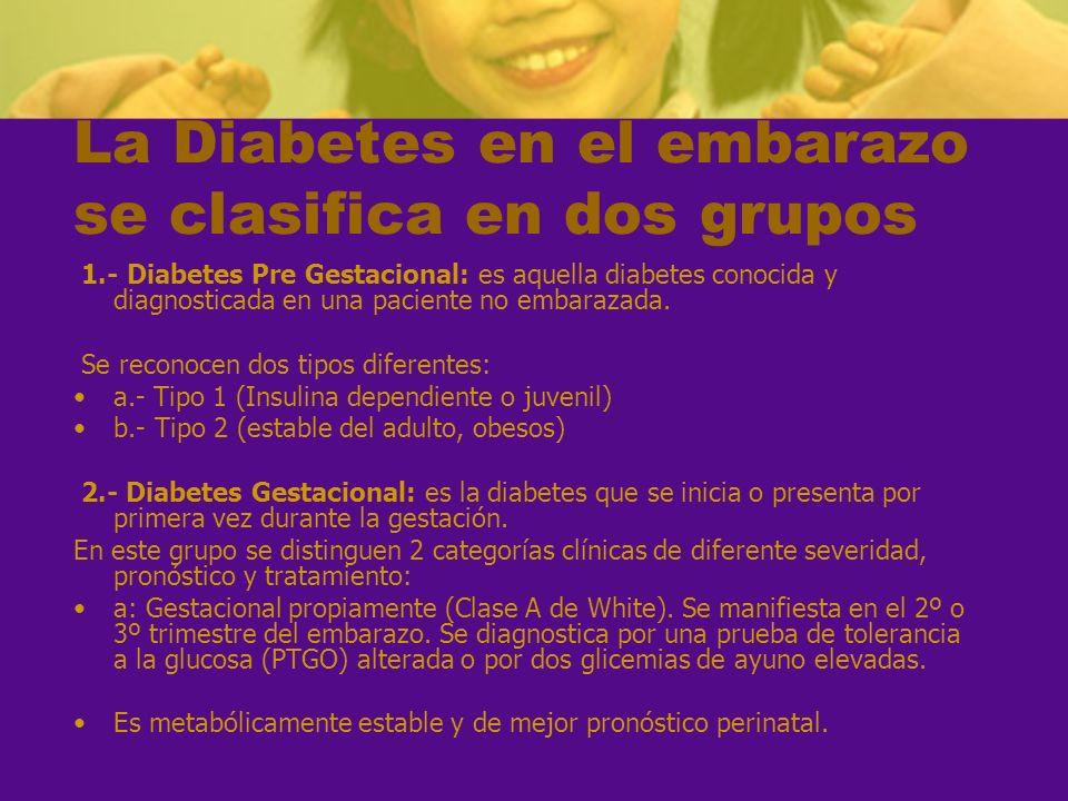 La Diabetes en el embarazo se clasifica en dos grupos 1.- Diabetes Pre Gestacional: es aquella diabetes conocida y diagnosticada en una paciente no em