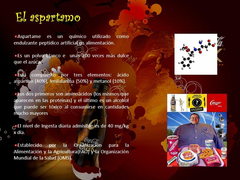 Aspartame es un químico utilizado como endulzante peptídico artificial en alimentación. Es un polvo blanco e unas 200 veces más dulce que el azúcar Es