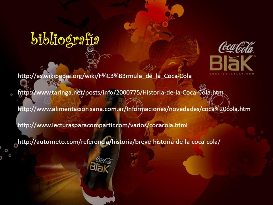 http://es.wikipedia.org/wiki/F%C3%B3rmula_de_la_Coca-Cola http://www.taringa.net/posts/info/2000775/Historia-de-la-Coca-Cola.htm http://www.alimentaci