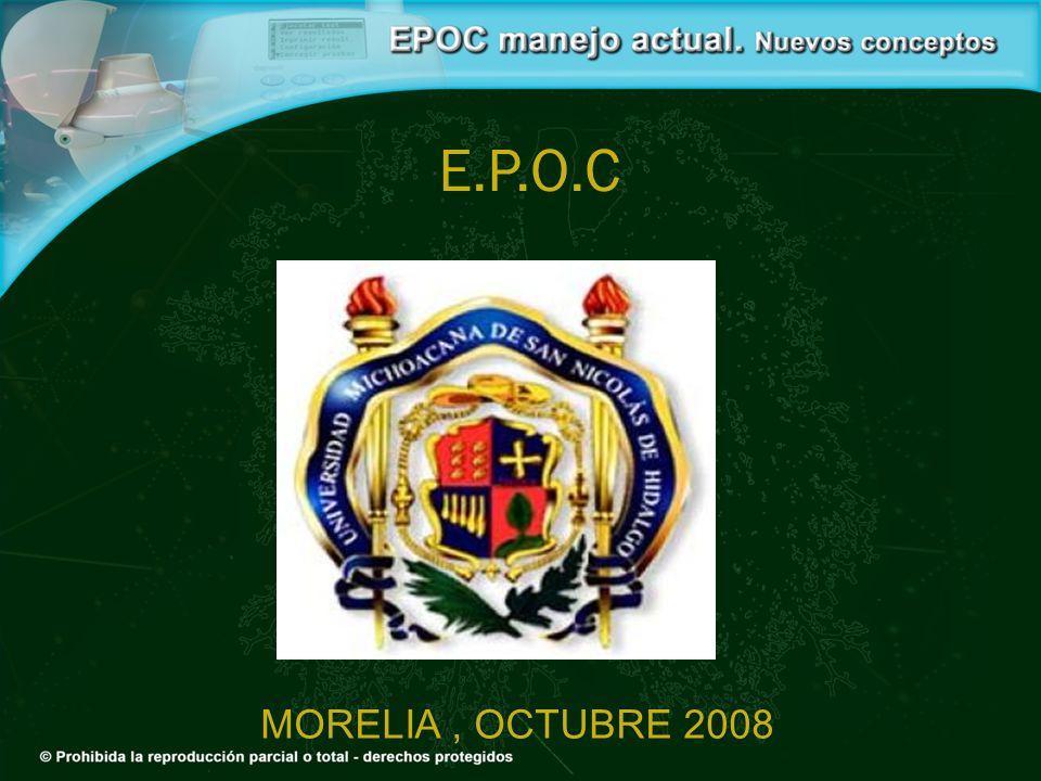 Recomendaciones de Tratamiento EPOC muy grave, Etapa 4 (FEV 1 /FVC <70%, FEV 1 <30%) GOLD 2007 Anticolinérgico de acción prolongada (Tiotropio) b 2 agonista de acción prolongada Corticoesteroide inhalado Xantinas*