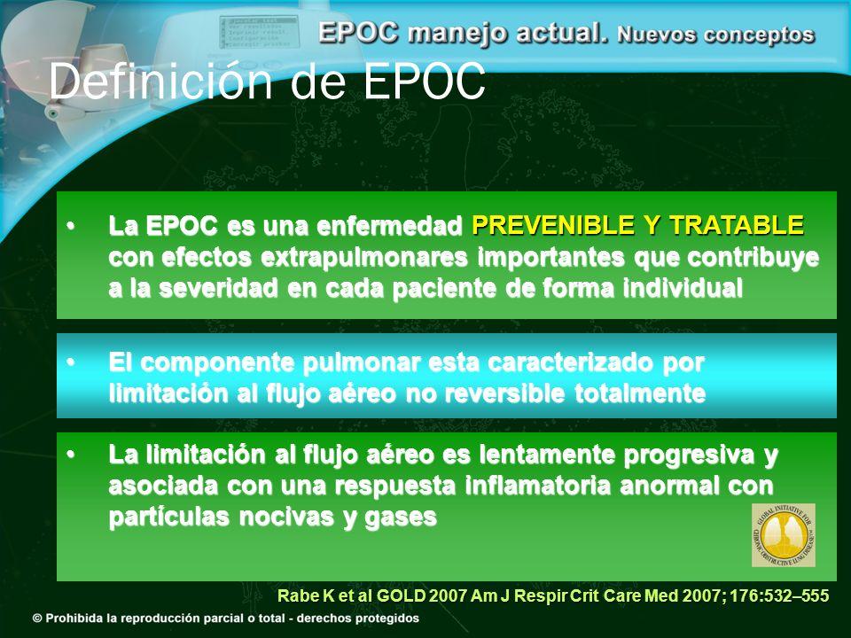 La EPOC es una enfermedad PREVENIBLE Y TRATABLE con efectos extrapulmonares importantes que contribuye a la severidad en cada paciente de forma indivi