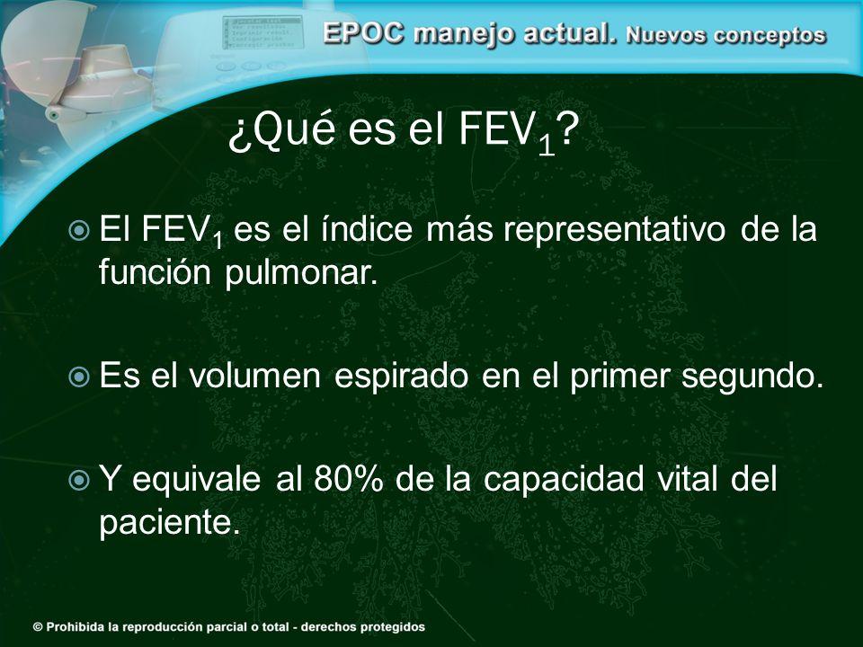 ¿Qué es el FEV 1 ? El FEV 1 es el índice más representativo de la función pulmonar. Es el volumen espirado en el primer segundo. Y equivale al 80% de