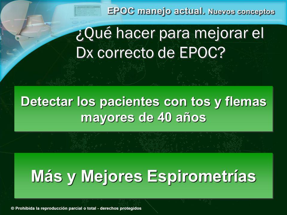 Más y Mejores Espirometrías ¿Qué hacer para mejorar el Dx correcto de EPOC? Detectar los pacientes con tos y flemas mayores de 40 años