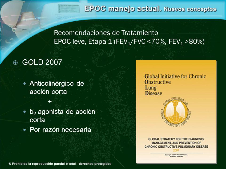 Recomendaciones de Tratamiento EPOC leve, Etapa 1 (FEV 1 /FVC 80%) GOLD 2007 Anticolinérgico de acción corta + b 2 agonista de acción corta Por razón