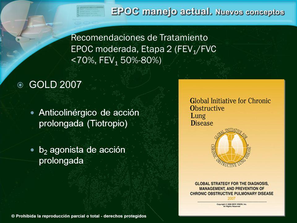 Recomendaciones de Tratamiento EPOC moderada, Etapa 2 (FEV 1 /FVC <70%, FEV 1 50%-80%) GOLD 2007 Anticolinérgico de acción prolongada (Tiotropio) b 2
