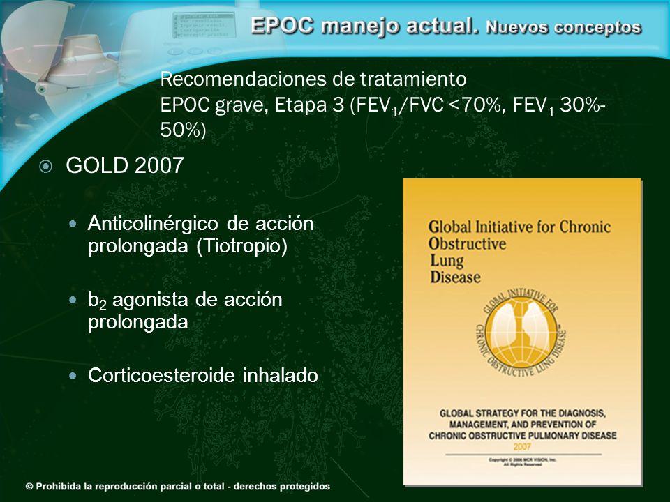 Recomendaciones de tratamiento EPOC grave, Etapa 3 (FEV 1 /FVC <70%, FEV 1 30%- 50%) GOLD 2007 Anticolinérgico de acción prolongada (Tiotropio) b 2 ag