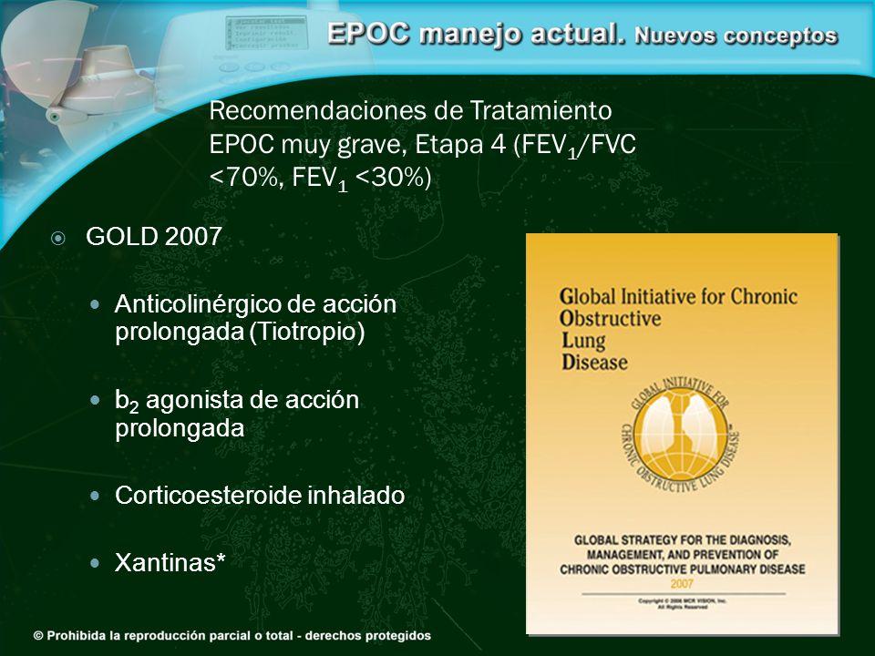Recomendaciones de Tratamiento EPOC muy grave, Etapa 4 (FEV 1 /FVC <70%, FEV 1 <30%) GOLD 2007 Anticolinérgico de acción prolongada (Tiotropio) b 2 ag