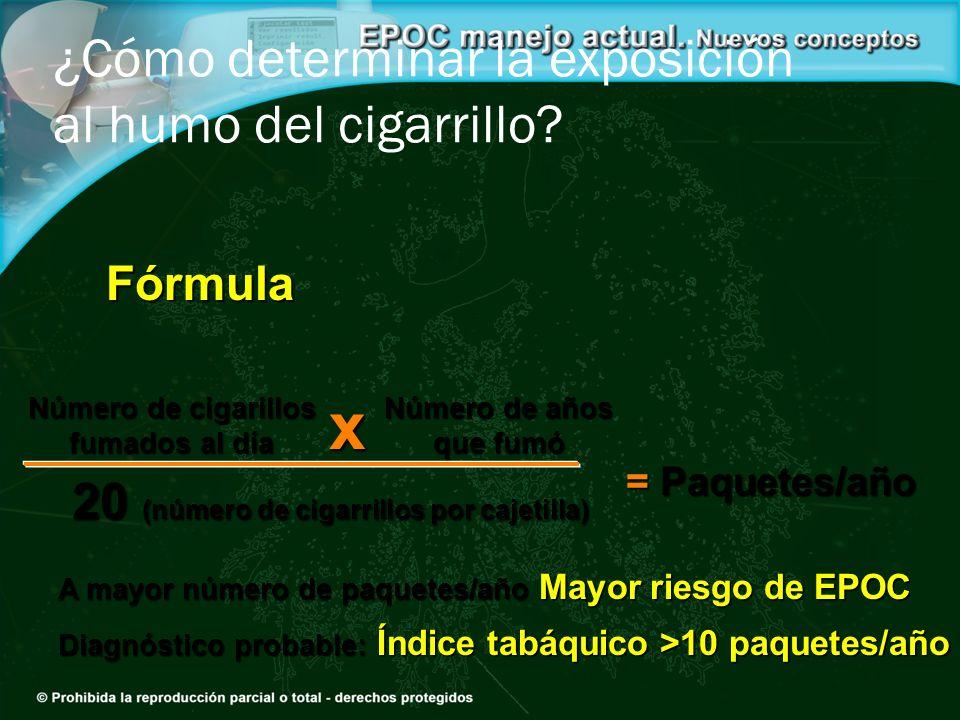 Número de cigarillos fumados al día Fórmula = Paquetes/año Número de años que fumó 20 (número de cigarrillos por cajetilla) x ¿Cómo determinar la expo