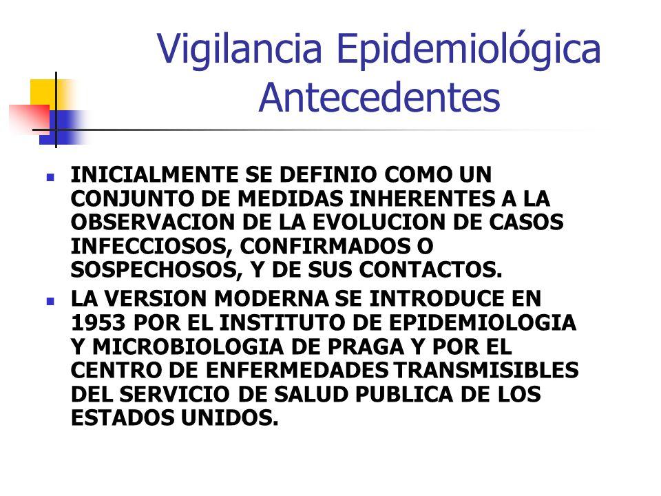Vigilancia Epidemiológica Antecedentes INICIALMENTE SE DEFINIO COMO UN CONJUNTO DE MEDIDAS INHERENTES A LA OBSERVACION DE LA EVOLUCION DE CASOS INFECC
