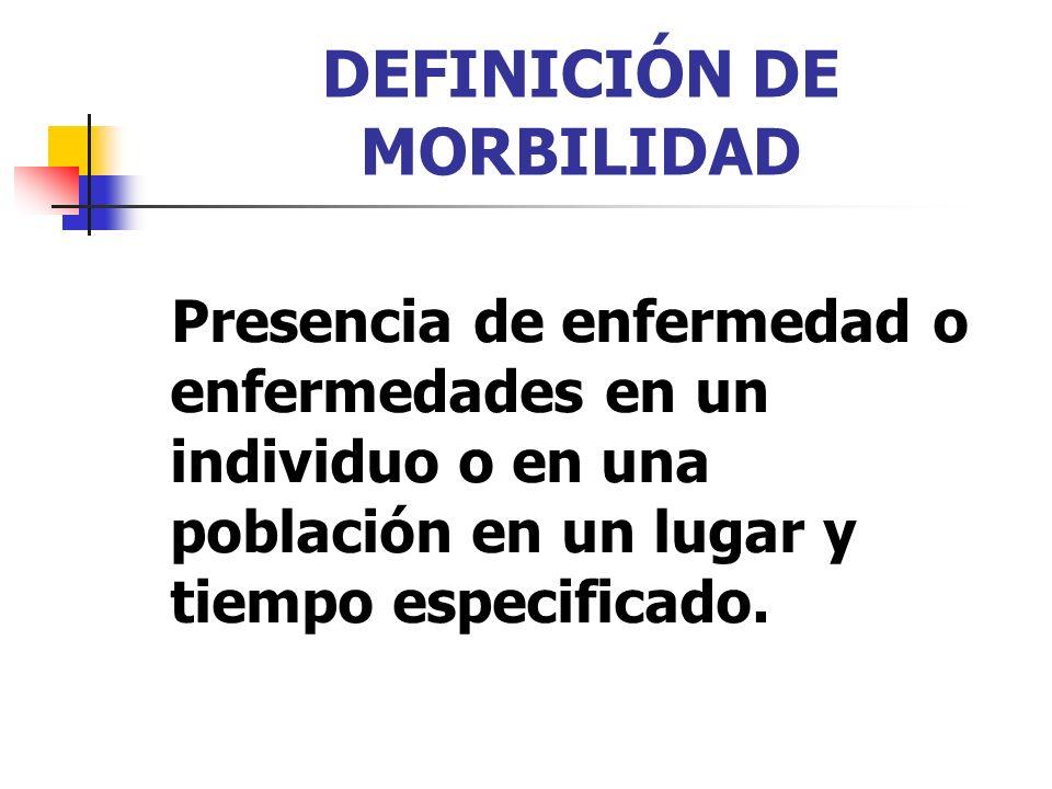 DEFINICIÓN DE MORBILIDAD Presencia de enfermedad o enfermedades en un individuo o en una población en un lugar y tiempo especificado.