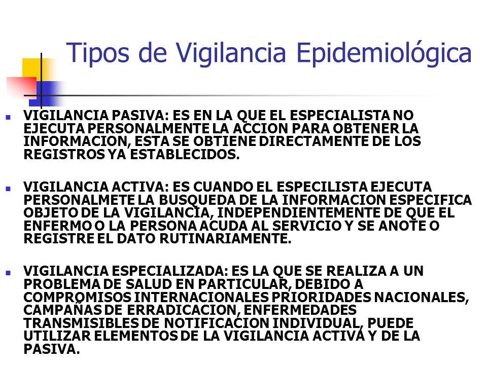 Tipos de Vigilancia Epidemiológica VIGILANCIA PASIVA: ES EN LA QUE EL ESPECIALISTA NO EJECUTA PERSONALMENTE LA ACCION PARA OBTENER LA INFORMACION, EST