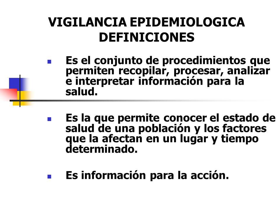 VIGILANCIA EPIDEMIOLOGICA DEFINICIONES Es el conjunto de procedimientos que permiten recopilar, procesar, analizar e interpretar información para la s